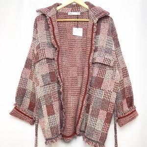 NEW Zara metallic thread tweed coat
